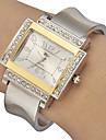Women's Diamante Rectangle Dial Alloy Band Quartz Analog Bracelet Watch (Assorted Colors)