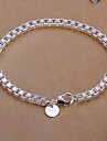 Sweet 19cm Women's Silver Copper Chain & Link Bracelet(Silver)(1 Pc)