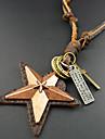 Homens Colares com Pendentes Colares Vintage Estrela Pele Confeccionada à Mão Jóias Para Diário Casual