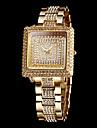 Women\'s Sparkle Diamond Square Dial Steel Band Quartz Wrist Watch