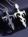 Персональный подарок Мужские украшения титана стали Пламя Shaped выгравированы кулон ожерелье с 60 см цепи