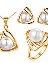 треугольник золотой посеребренные (ожерелья&серьги&кольца) Наборы Свадебные украшения