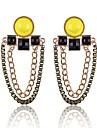 (1 Pair)European (Yellow Gemstone Earrings Double Chain) Golden Alloy Drop Earrings(Yellow)