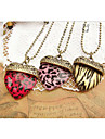 European Leopard Stripe Peach Heart Alloy Pendant Necklace(More Color) (1 Pc)