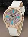 Women's Crystal Case Colorful Dial PU Band Quartz Wrist Watch (Assorted Colors)