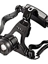 Headlamps Headlight LED 800 lm Mode Cree T6 with Charger Zoomable Adjustable Focus Waterproof Camping/Hiking/Caving Black