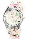 Women's Silver Case Colorful Silicone Band Quartz Wrist Watch