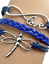 Shixin® European Dragonfly 18cm Women's Blue Leather Wrap Bracelet(1 Pc)