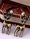 Ретро (Deer падения) сплава серьги (медный) (1 пара)