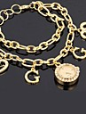 Popular Women's CZ  Rhinestone Gold Alloy Magic Chain Wrist Watch