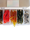 """Soft Bait / Lure kits / Fishing Lures Lure Packs / Soft Bait 16 pcs g Ounce mm / 2-5/8"""" inch Black / Brown / Yellow / Red SiliconSea"""