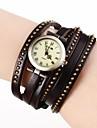Vintage Roms des femmes Dial longue courroie de cuir de quartz de bande de montre-bracelet analogique (couleurs assorties)