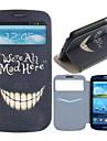 Louco Teeth Padrão PU Leather Case Full Body com slot para cartão para Samsung Galaxy S3 I9300
