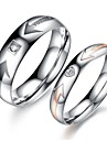 Amants de cru en acier inoxydable simples anneaux Anglais d'un couple (2 Pcs)