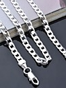"""lureme®925 prata banhado a cadeia de ligação 4 milímetros colar 16-24 """"l"""