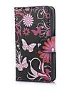 Black Butterflies PU caso capa de couro com suporte e slot para cartão de Sony Xperia E C1605