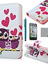 COCO FUN® Purple Owl Family PU Leather Full Body Case with Screen Protector, Stand and Stylus for iPhone 4/4S