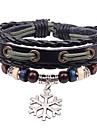 Unisex's Alloy Snow Beads Leather Braided Bracelets