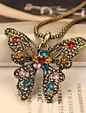 diamate de mode (rond et rose) collier en argent pendentif en alliage (1 pc)
