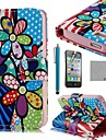 COCO FUN® Colorful Sun Flower PU Leather Full Body Case with Screen Protector, Stand and Stylus for iPhone 4/4S