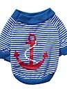 Cat Dog Shirt / T-Shirt Dog Clothes Stripes Red Blue Cotton Costume For Spring &  Fall