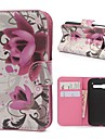 Purple Flowers Pattern PU Leather Case with Magnetic Snap and Card Slot for Alcatel One Touch Pop C5