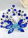 Fashion Blue Flower Shape Silver Alloy Rhinestone Brooches(1 Pc)