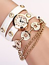 Women's White Round DIal Pu Cion Pendant Band Quartz Casual  Wristwatch