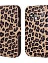 Leopard impresso PU Leather Case Full Body com alça e etiqueta para Samsung Galaxy S3 Mini I8190