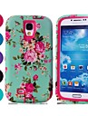 Hot Selling Blue Floral Pattern Tough Armor PC and TPU Mobile Phone Case for Samsung Galaxy S4/I9500 (Assorted Colors)