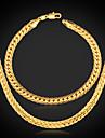 Γυναικεία Κοσμήματα Σετ Επιμεταλλωμένο με Πλατίνα, Επιχρυσωμένο κυρίες, Κλασσικό Περιλαμβάνω Κολιέ / βραχιόλι Χρυσό Για Πάρτι Γενέθλια Αρραβώνας Δώρο Καθημερινά Causal / Βραχιόλι