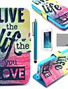 COCO FUN® Love Life Pattern PU Leather Case with Screen Protector, Stand and Stylus for iPhone 5/5S