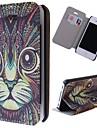 grãos gato especial claro padrão caso de corpo inteiro pu com slot para cartão de iPhone 4 / 4S