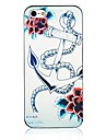 Rose and Anchor Pattern Black Frame Back Case for iPhone 5/5S
