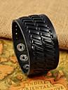 Fashion Men\'s Black Herringbone Wide Leather Bracelets