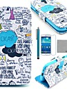 COCO FUN® Blue Graffiti Pattern PU Leather Case with Screen Protecter and Stylus for Samsung Galaxy S4 Mini i9190