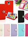 Rhombus Leather Wallet Case with Camellia Diamond Flip Stand And Card Holder for Samsung S5 I9600(Assorted Colors)