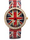 Women's  Hot Sell Personality Simple British Flag Pattern Style Metal Spring Band Wrist Watch