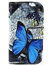 belo padrão de retrato de couro pu aberto caso de corpo inteiro com suporte para Samsung Galaxy S3 mini-i8190n
