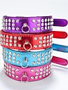 Cat Dog Collar Reflective Rhinestone PU Leather Purple Rose Red