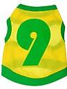 Кошка Собака Футболка Толстовка Джерси Одежда для собак Буквы и цифры Желтый Терилен Костюм Для домашних животных Классика