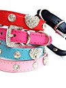Cat Dog Collar Rhinestone PU Leather Black Rose Red Blue Pink