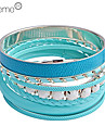 Lureme®7 PCS Leather And Alloy Bracelets Set(Assorted Colors)