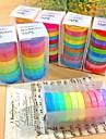 30pcs populares washi arco iris papel pegajoso pegamento enmascaramiento bricolaje decorativo scrapbooking cinta para decoracion 10 colores
