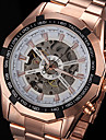 FORSINING® Men\'s Hollow Automatic Mechanical Rose Gold Steel Band Wrist Watch Cool Watch Unique Watch