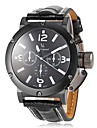 V6® Men\'s Sporty Design Black PU Leather Band Quartz Wrist Watch Cool Watch Unique Watch Fashion Watch