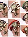 여성의 둥근 다이얼 다층 밴드 불가사리 펜던트 석영 아날로그 패션 팔찌 시계 (모듬 된 색상)