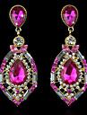 Women\'s Crystal / Synthetic Diamond Stud Earrings / Drop Earrings - 18K Gold Plated Luxury, European, Fashion Green / Pink / Royal Blue For