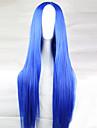 Парики из искусственных волос Прямой Ассиметричная стрижка Искусственные волосы 28 дюймовый Природные волосы Синий Парик Жен. Длинные Без шапочки-основы Светло-синий