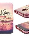 Para Samsung Galaxy Capinhas Case Tampa Porta-Cartão Com Suporte Flip Estampada Corpo Inteiro Capinha Cenário Couro PU para SamsungS5